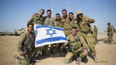 Israeli soldiers at a deployment area near the border with the Gaza Strip, July 28. Credit: Yonatan Sindel/Flash90.