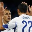Israel's Ben Haim and Damari celebrate a goal against Andorra. Credit: Albert Gea/Reuters.