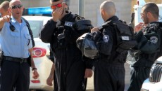 Israeli police seen at the site where a large fight between local Muslim and Druze residents broke out.  Photo by Flash90.