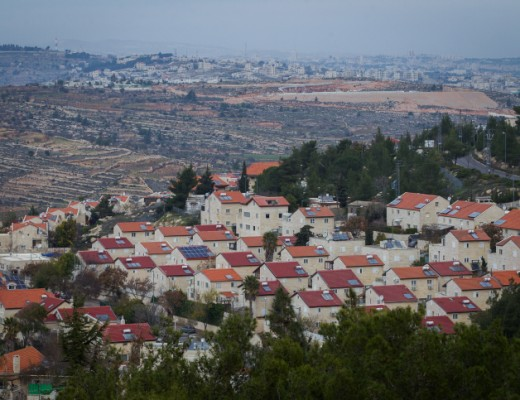 View of the Jewish settlement of Efrat (foreground) and Bethlehem (background), West Bank. Credit: Miriam Alster/FLASH90.