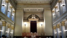 Inside the Great Synagogue in Copenhagen.