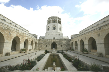 The courtyard of the Rockefeller Museum in Jerusalem. Credit: Abir Sultan/FLASH90.